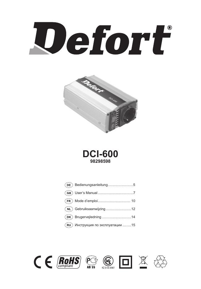 Defort transformateur de tension pour voiture DCI-150; DC 12V en AC 230V