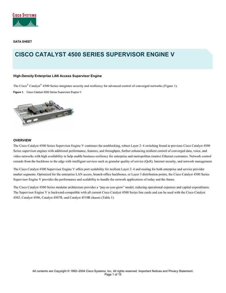 Cisco Module C4500 SUPERVISOR V(2GE)CON RJ-45 | manualzz com