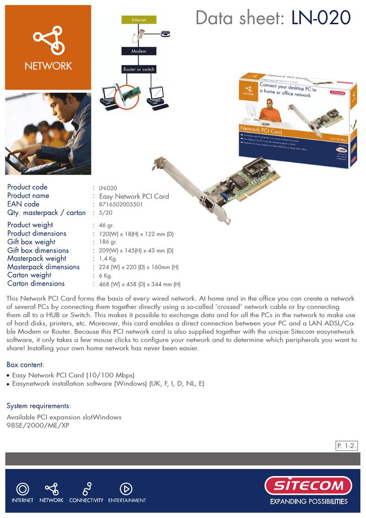 Sitecom LN-020 PCI Card LAN Drivers Download