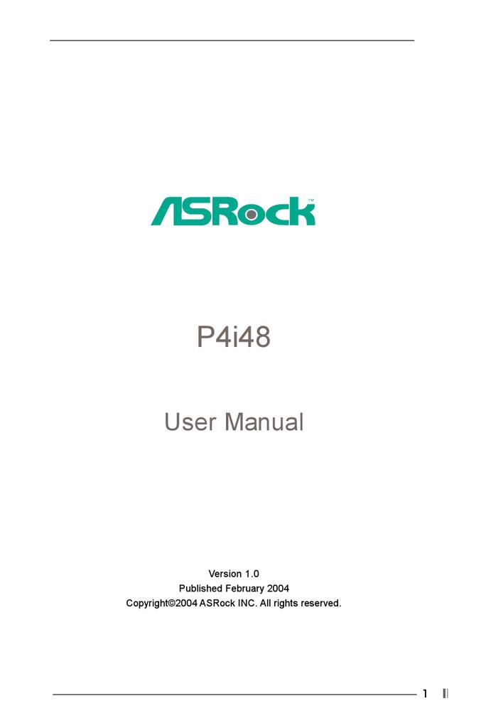 DRIVER UPDATE: ASROCK P4I48