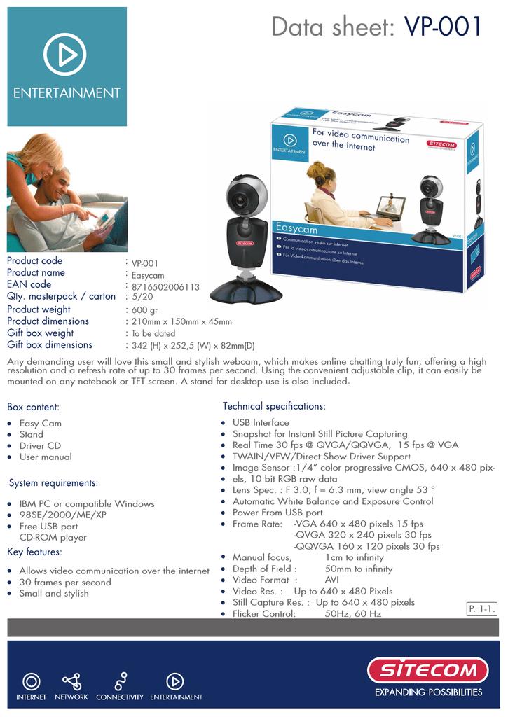 Sitecom VP-001 EasyCam Driver for PC