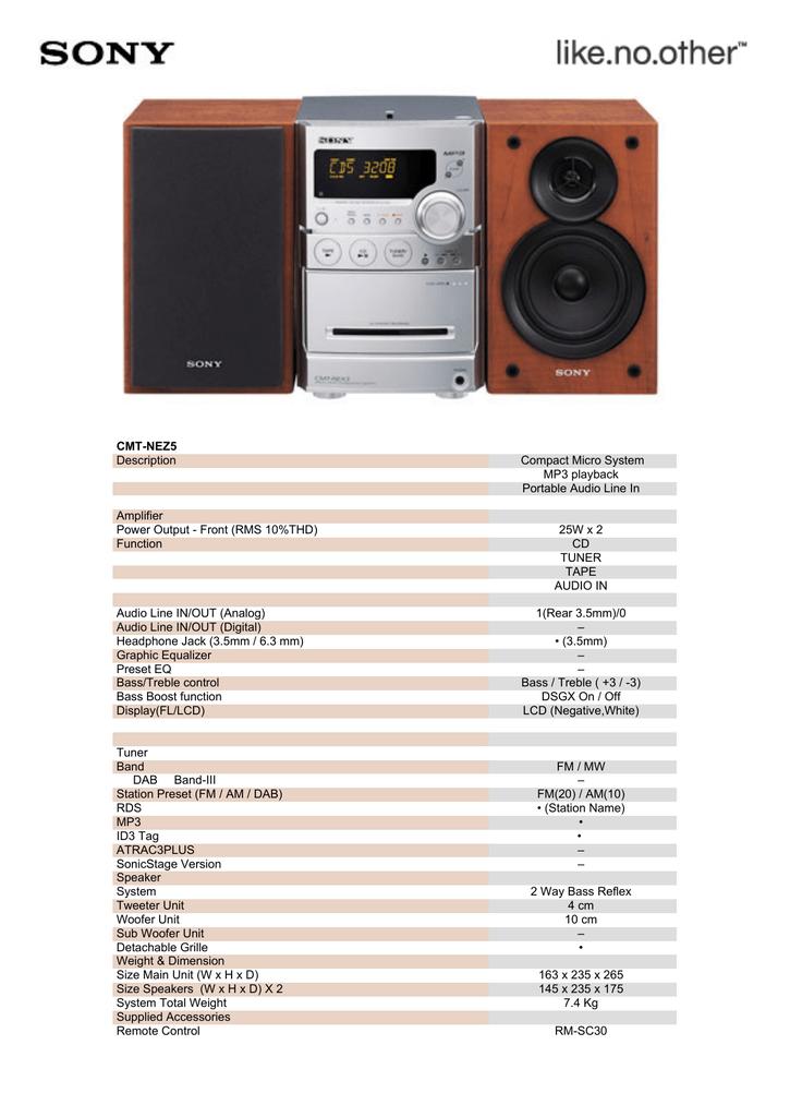 Sony Compact Micro System CMT-NEZ5 | manualzz com