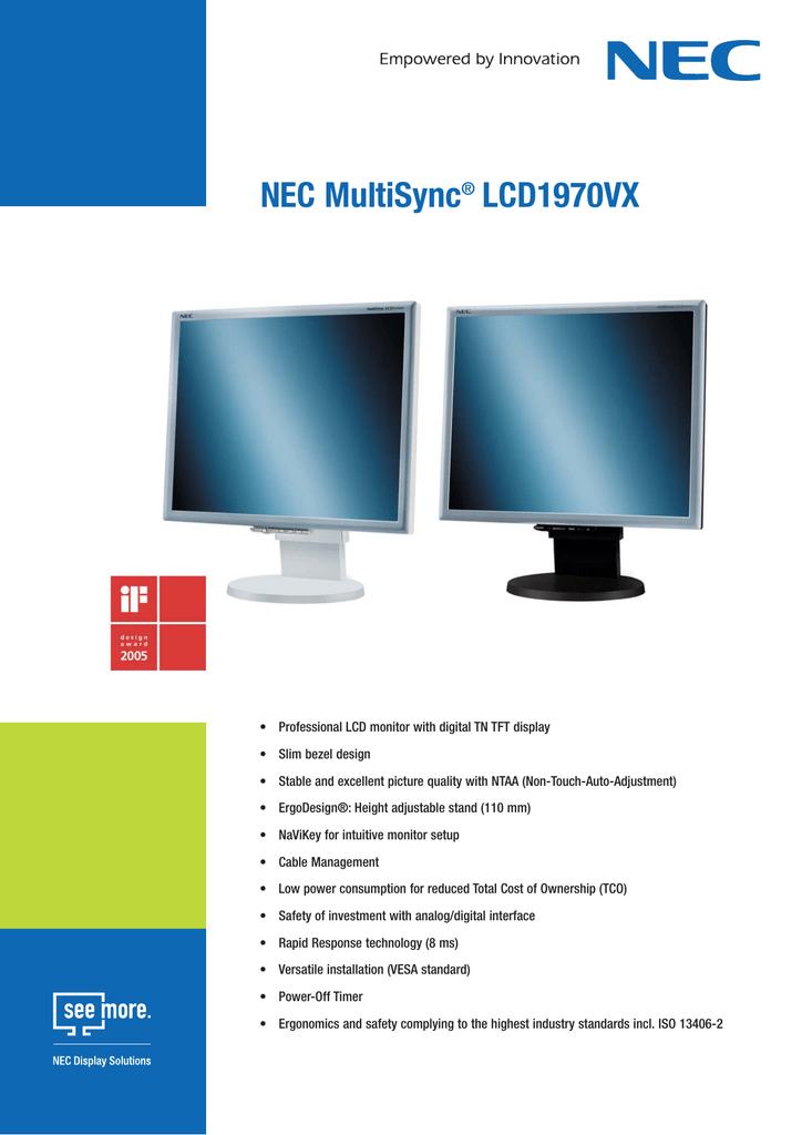NEC MULTISYNC LCD1970VX WINDOWS 10 DRIVERS DOWNLOAD