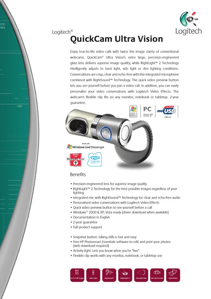 Logitech Quickcam Ultra Vision Manualzz