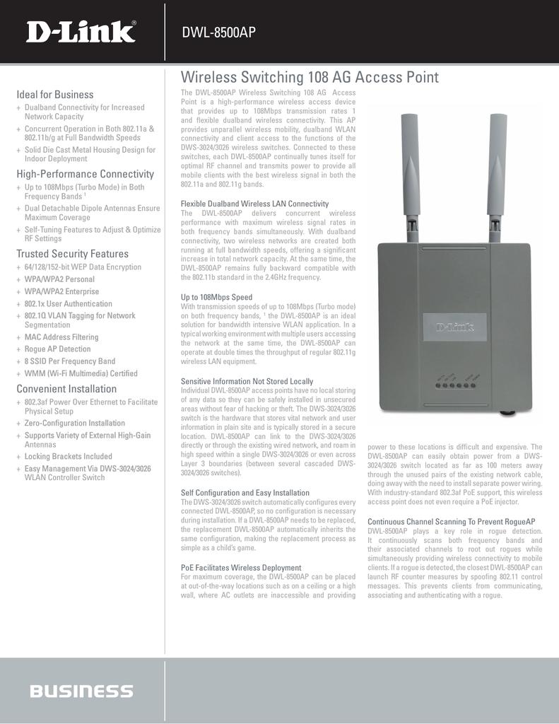 DLINK DWL-8500AP ACCESS POINT DRIVER FOR WINDOWS MAC
