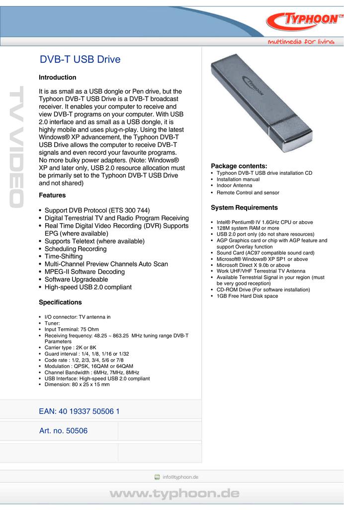 TYPHOON DVB-T USB DRIVE Driver