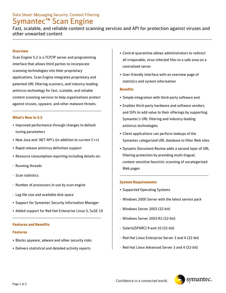 Symantec AntiVirus Scan Engine v 5 2, w/ 1 Year Essential