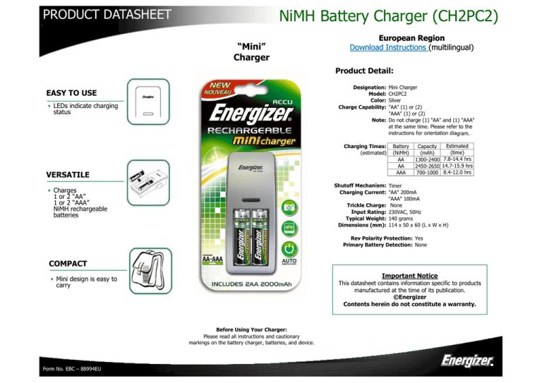 Energizer 630932 Datasheet Manualzz