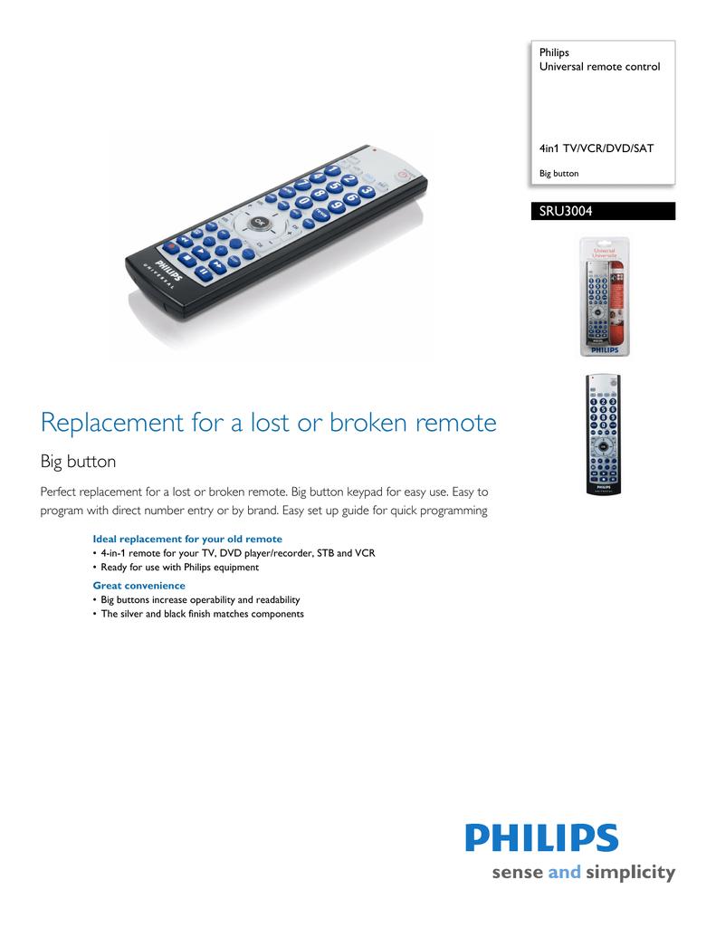 Philips SRU3004 4in1 TV/VCR/DVD/SAT Big button Universal