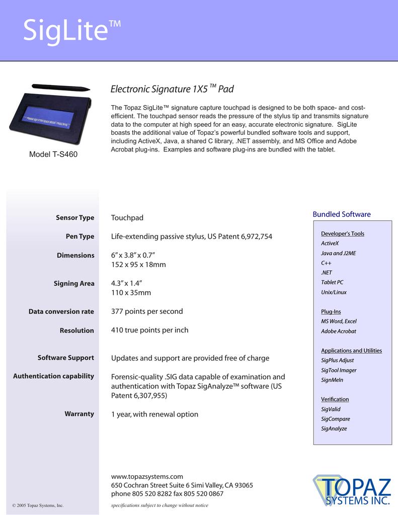 Topaz Labs SigLite 1X5 | manualzz com