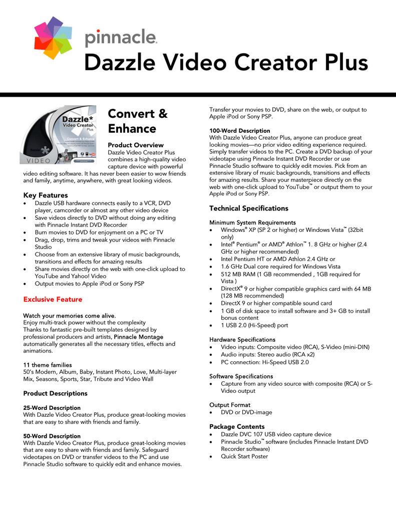 Pinnacle Dazzle Video Creator Plus   manualzz com