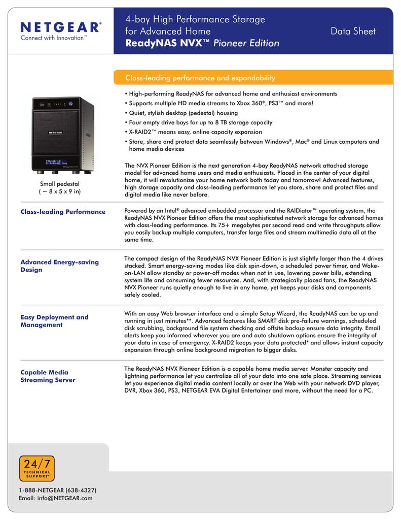 Netgear Readynas NVX Pioneer Edition RNDX400E | manualzz com