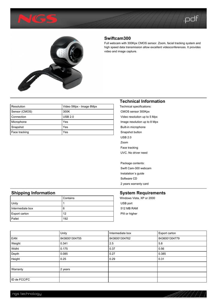 Ngs Swiftcam300 Datasheet Manualzz