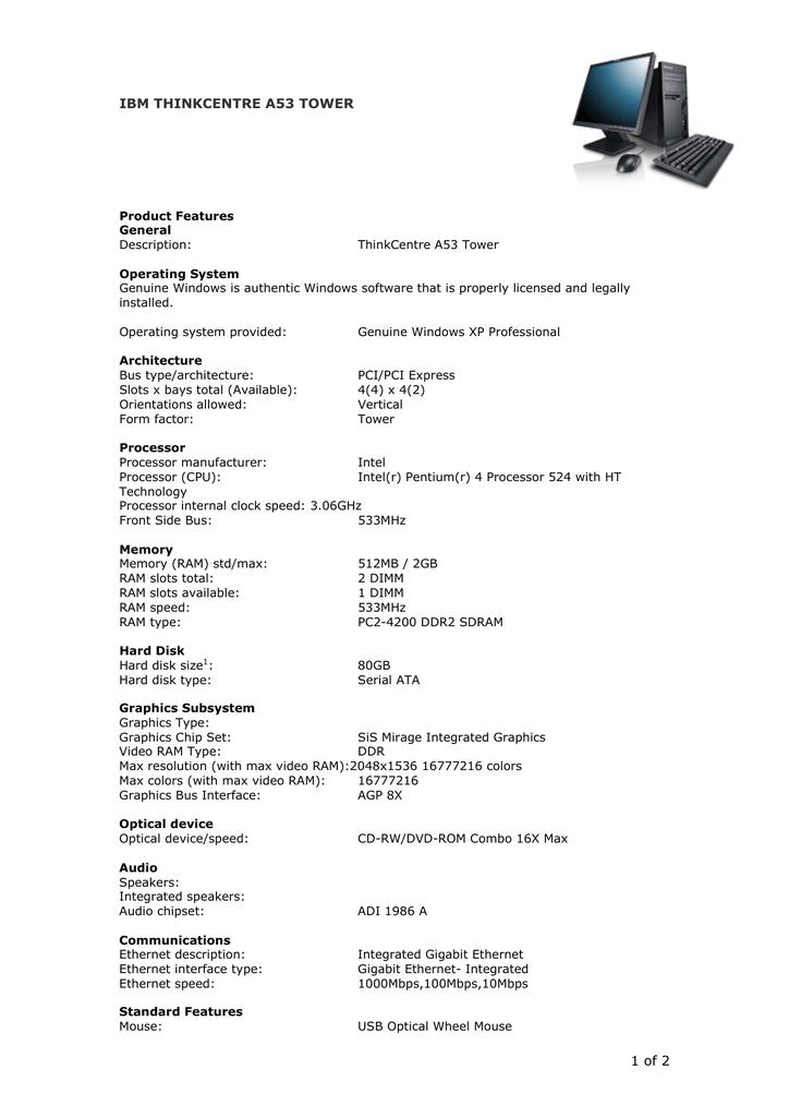 Lenovo ThinkCentre A53 | manualzz com