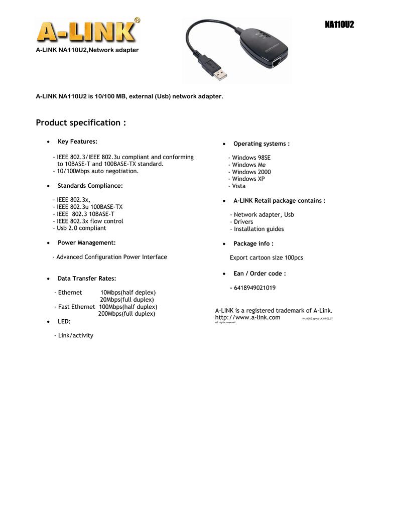 A-LINK NA110HR WINDOWS XP DRIVER