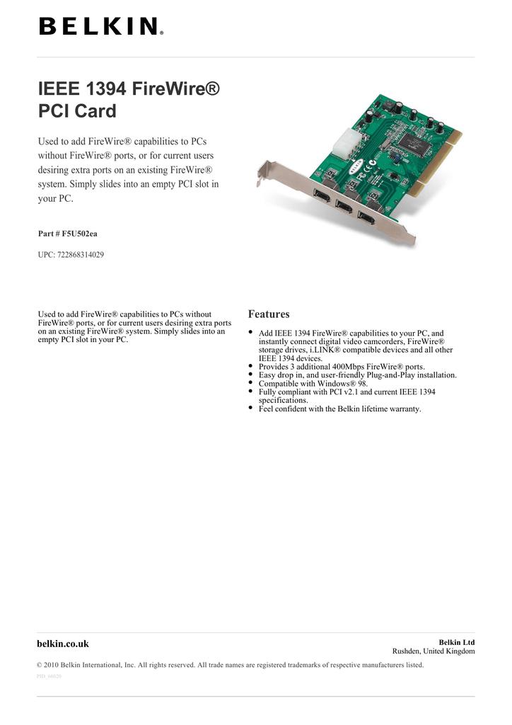 Hama IEEE 1394/FireWire PCI Card