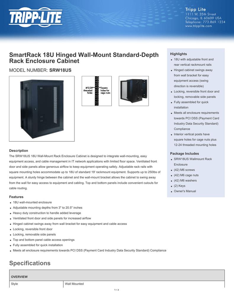 Tripp Lite SmartRack 18U Hinged Wall-Mount Standard-Depth