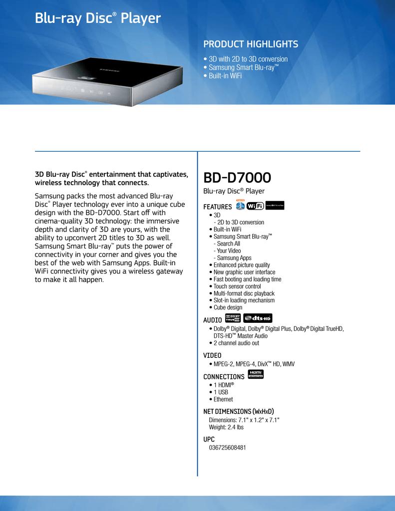 SAMSUNG BD-D7000 PLAYER WINDOWS 7 64 DRIVER