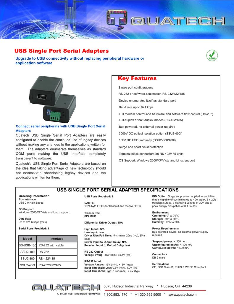 Quatech SS-USB-100 | manualzz com