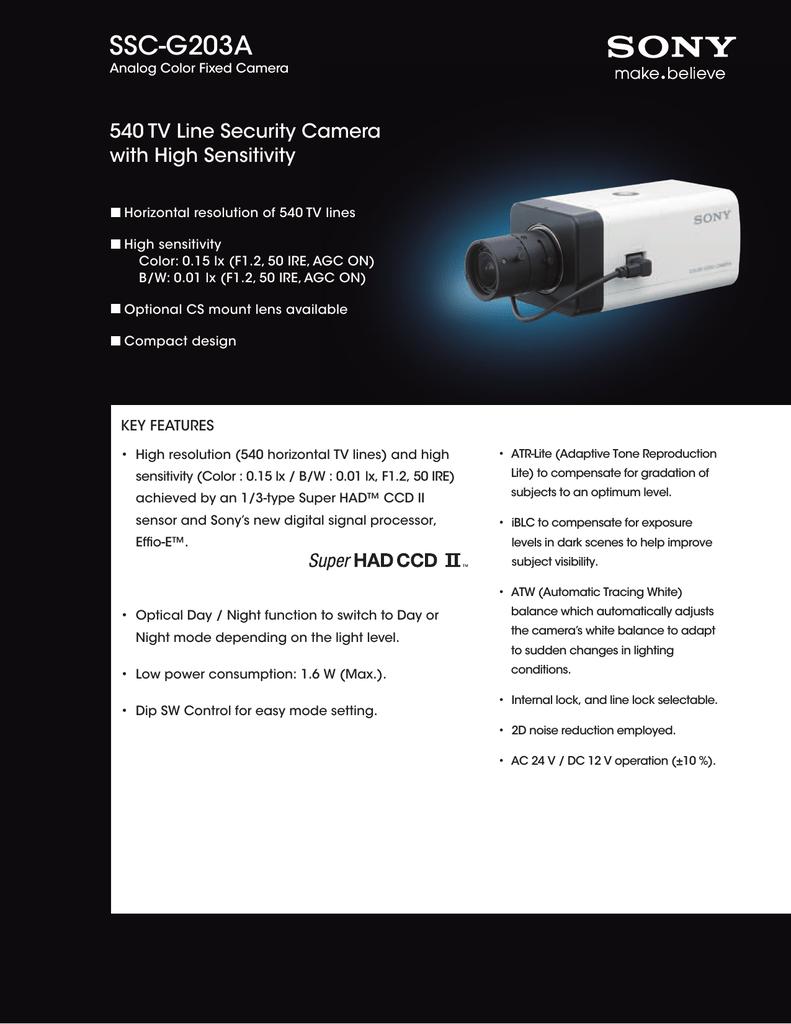 Sony SSC-G103A Analog Fixed Camera SSCG103A