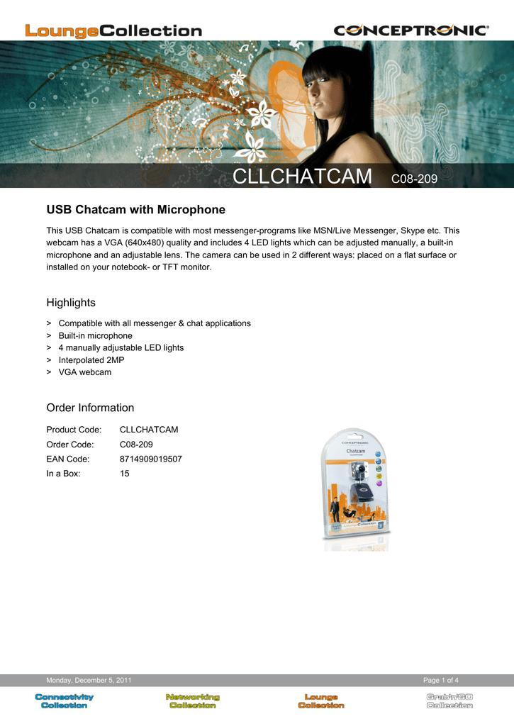 CONCEPTRONIC CLLFLCAMHD V2 WEBCAM WINDOWS 7 64BIT DRIVER DOWNLOAD