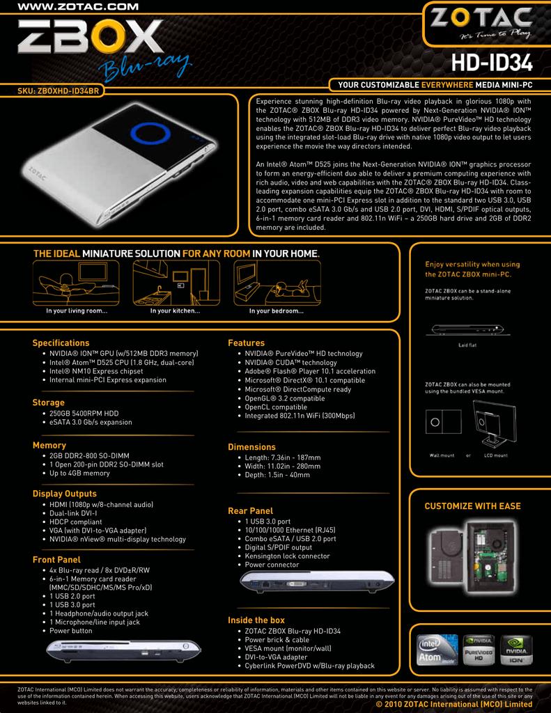 ZOTAC ZBOX HD-ND02 NVIDIA AUDIO WINDOWS 7 X64 TREIBER