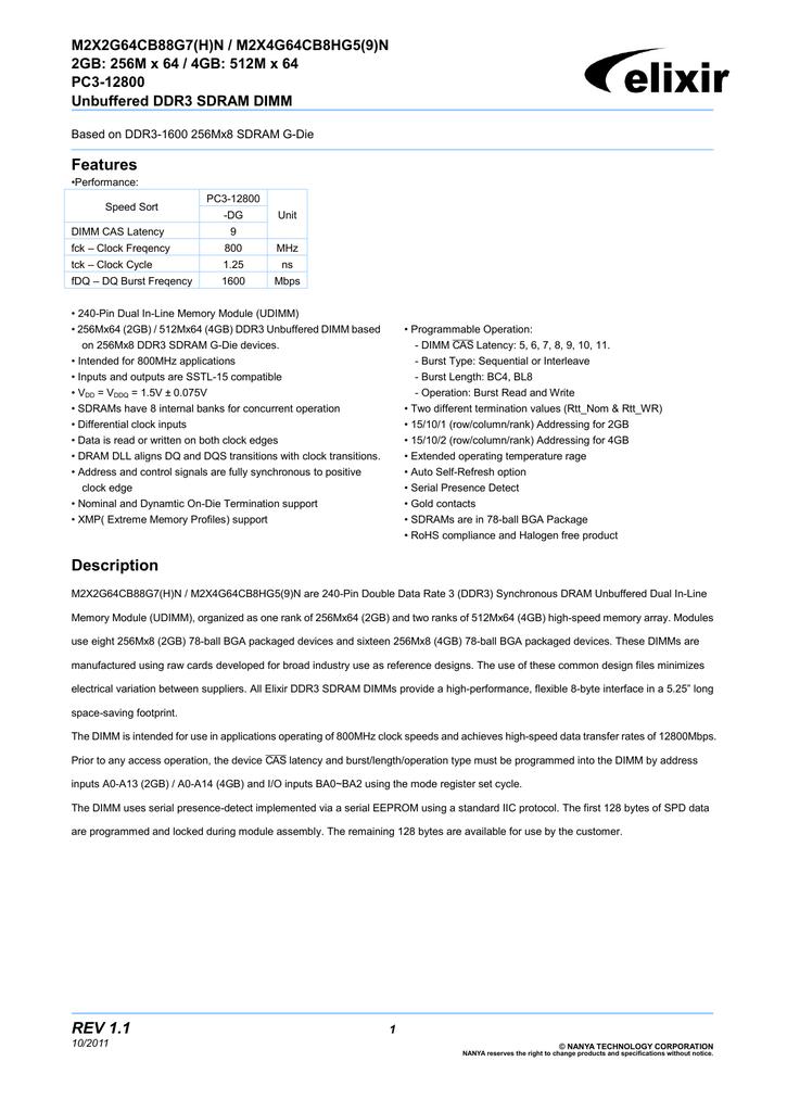 Elixir 4GB DDR3 | manualzz com
