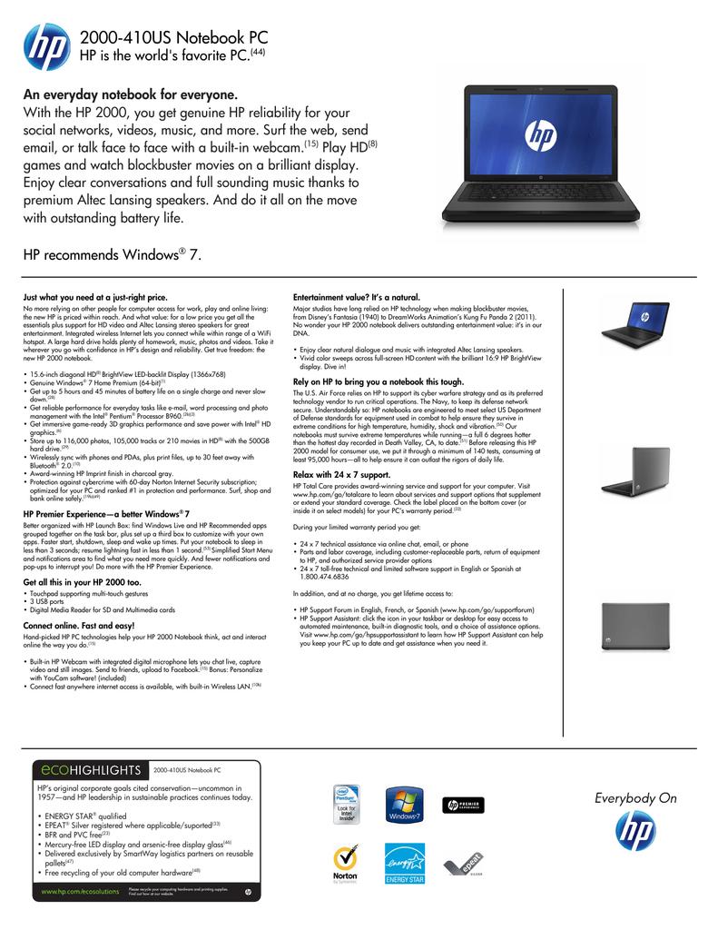 HP 2000-410US INTEL CHIPSET WINDOWS 7 X64 TREIBER