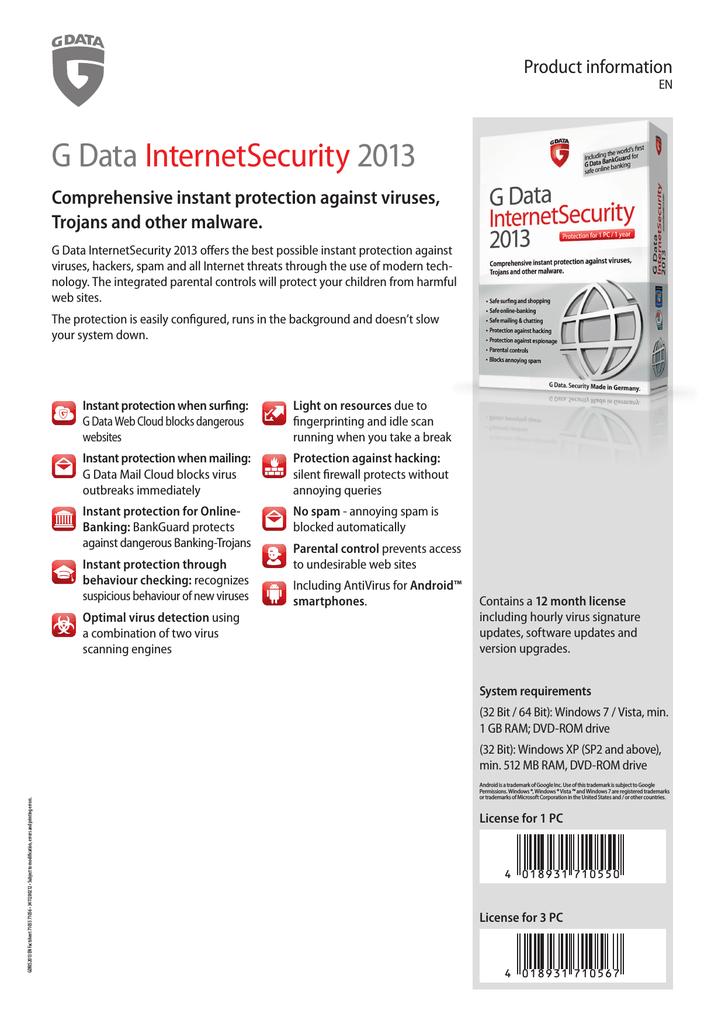 7ecc22c6c5c G DATA InternetSecurity 2013, 1Y, 1PC, Box | manualzz.com