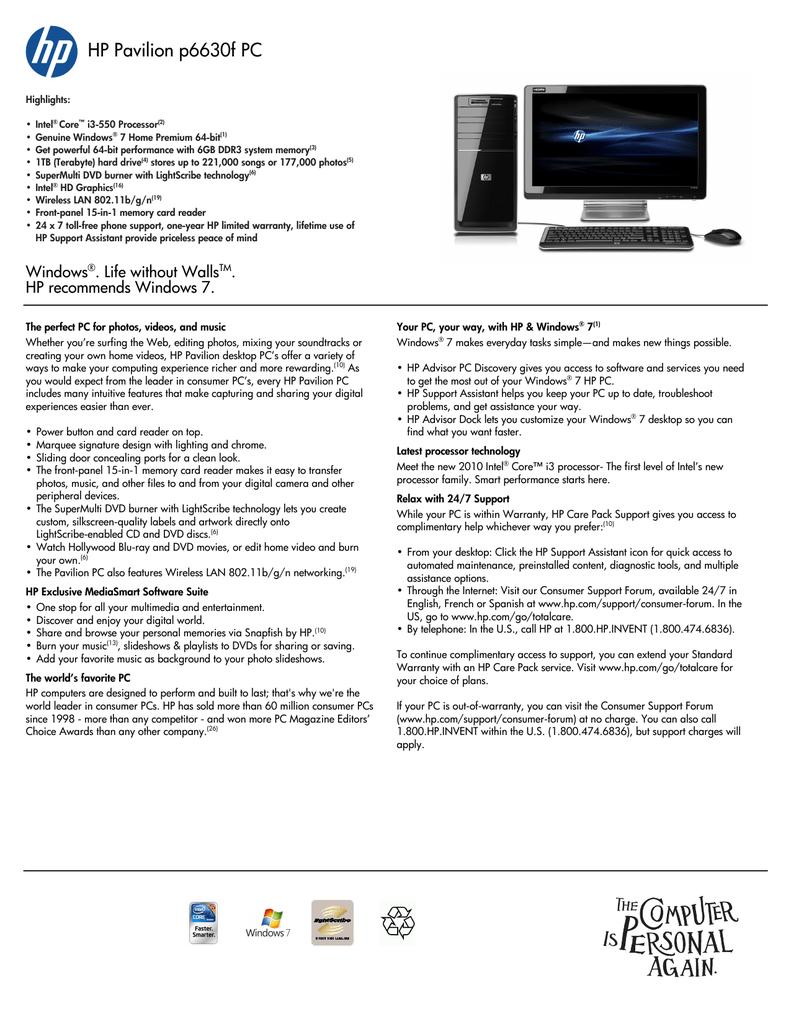 HP Pavilion p6630f | manualzz com