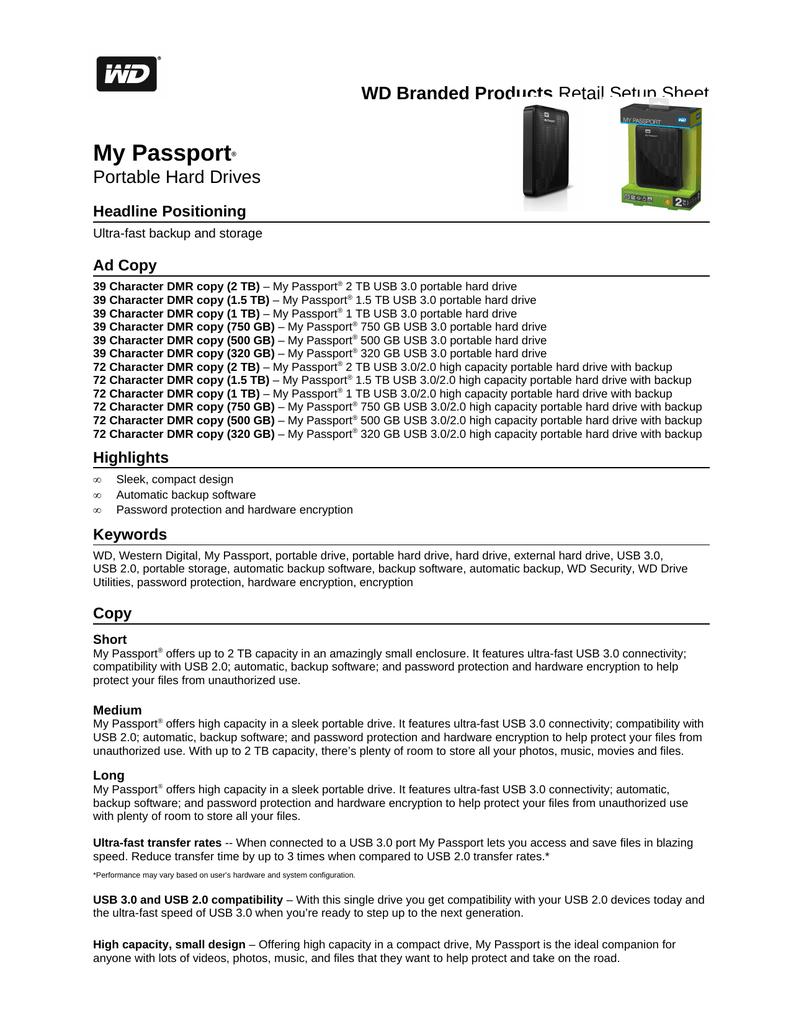 Western Digital My Passport 1 5TB USB 3 0 | manualzz com