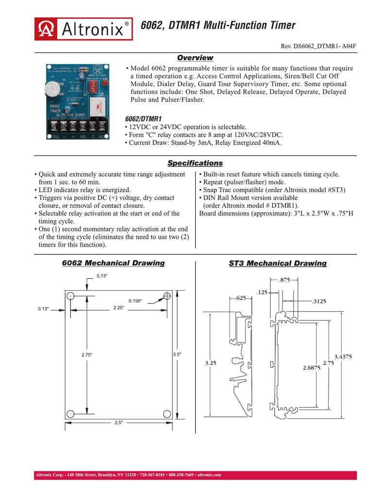 altronix relays wiring diagrams altronix dtmr1 manualzz  altronix dtmr1 manualzz