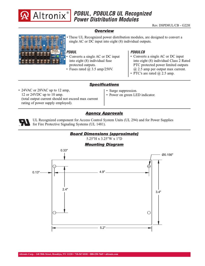 Altronix PD8ULCB Eight Output Power Distribution Module