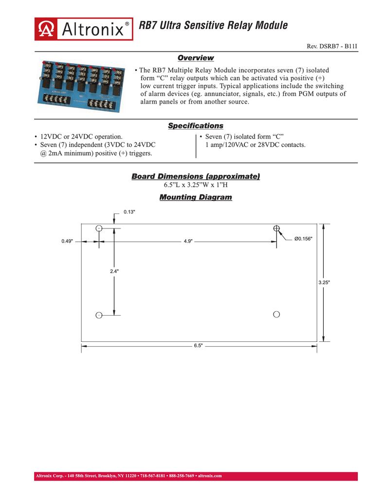 altronix relays wiring diagrams altronix rb7 power relay manualzz  altronix rb7 power relay manualzz