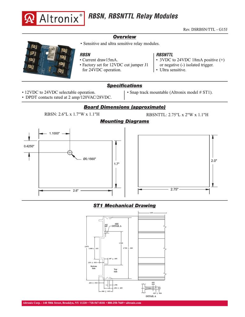 altronix relays wiring diagrams altronix rbsnttl power relay manualzz  altronix rbsnttl power relay manualzz