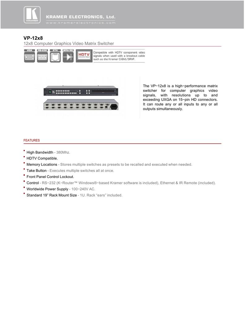 Kramer VP-23C Presentation Switcher 1U Rackmountable w// Rack Ears