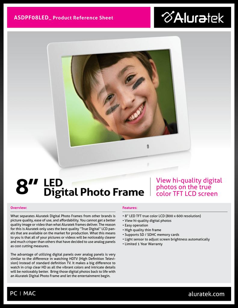 Aluratek ASDPF08LED digital photo frame | manualzz.com