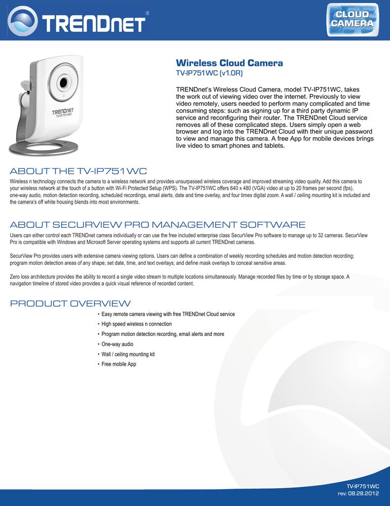 TRENDnet TV-IP751WC v1.0R Wireless Camera Treiber Windows XP