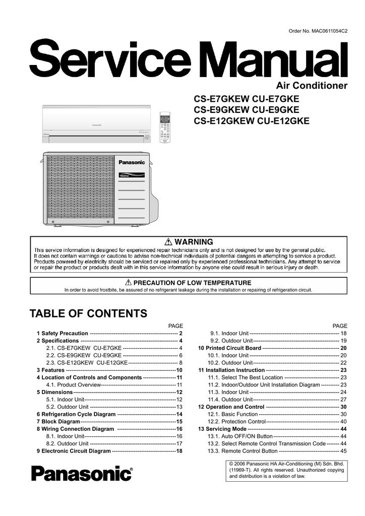 panasonic cu-e7gke air conditioner