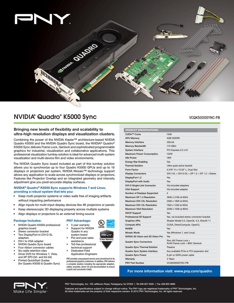 PNY VCQK5000SYNC-PB NVIDIA Quadro K5000 4GB graphics card