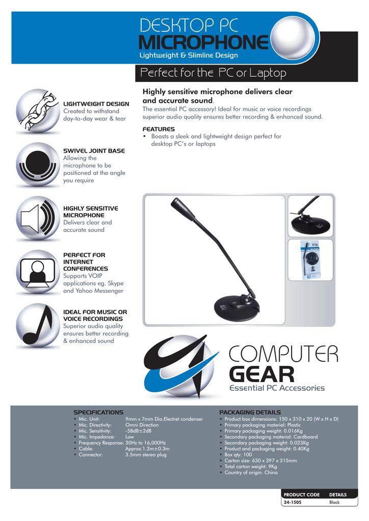 Computer Gear Lightweight Desktop Microphone Black