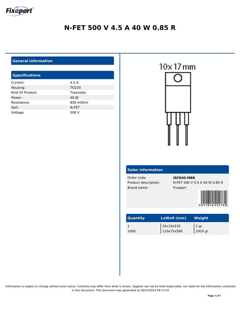 IRF840 Transistor N-FET 500V 4.5A 40W 0.85R