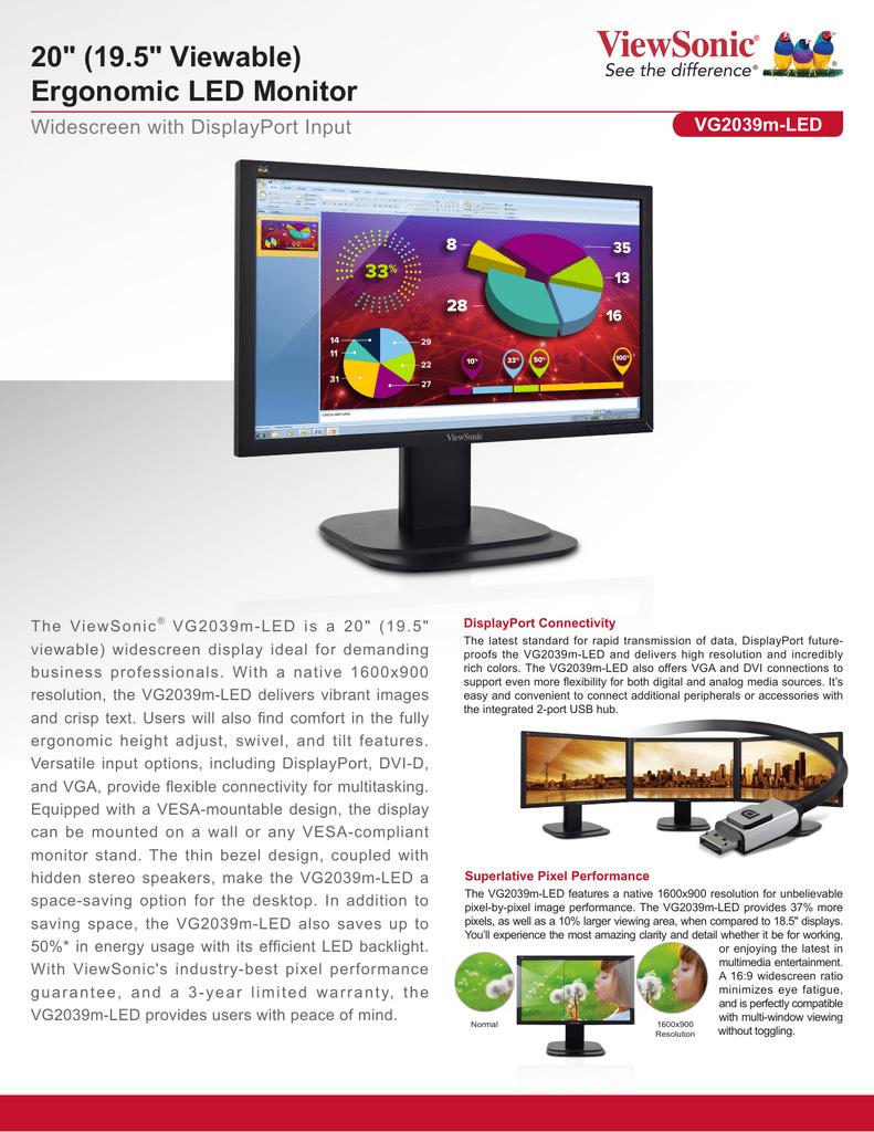 Viewsonic LED LCD VG2039M-LED | Manualzz