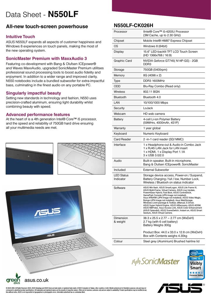 Asus N550LF Intel Bluetooth 64Bit