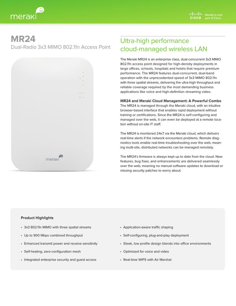 """/""""NEW/"""" Meraki MR66-HW Cloud-Managed Dual-Radio 802.11n Ruggedized Access Point"""