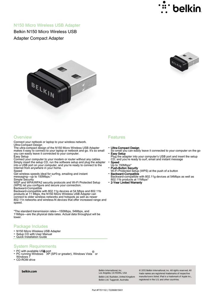 BELKIN 150N WIRELESS USB ADAPTER DRIVERS DOWNLOAD FREE
