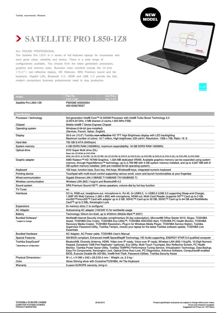 TOSHIBA SATELLITE C870D HDDSSD ALERT DESCARGAR DRIVER