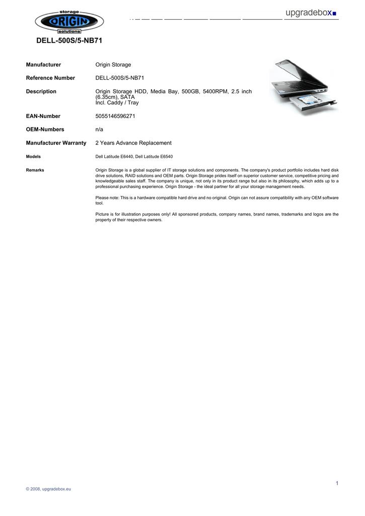 Origin Storage 500GB 5400rpm 2 5