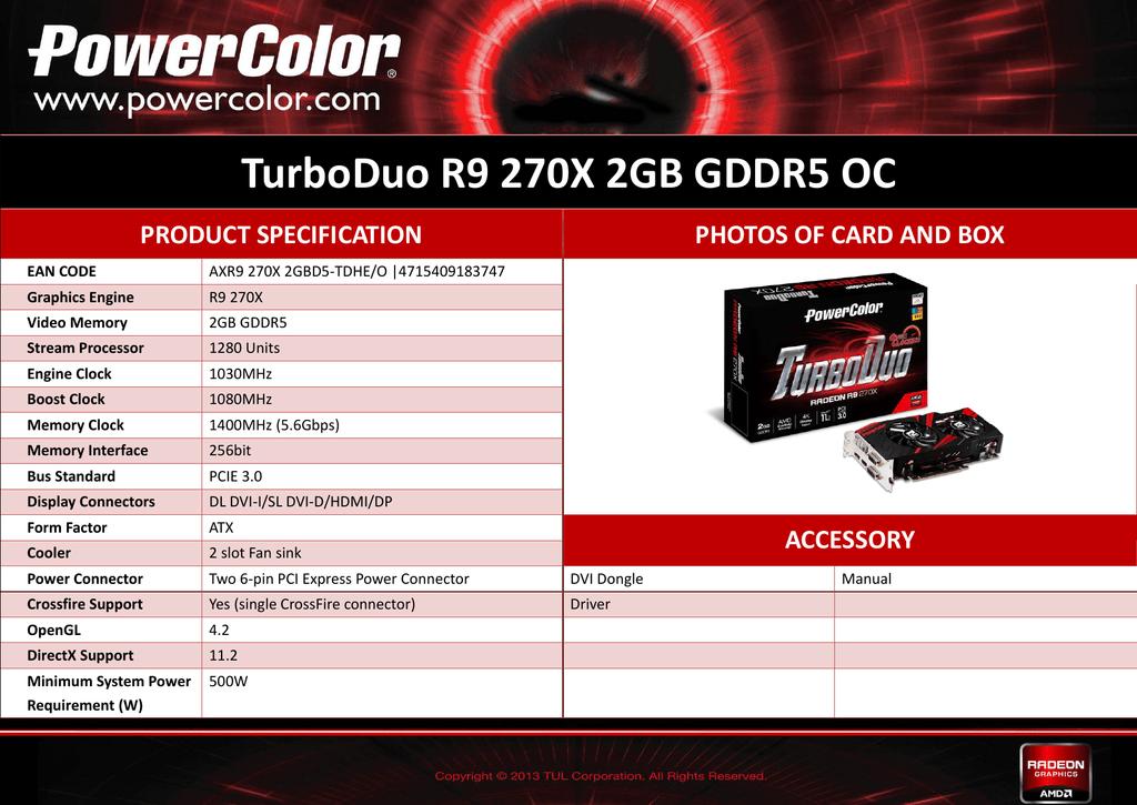 PowerColor AXR9 270X 2GBD5-TDHE/O AMD Radeon R9 270X 2GB