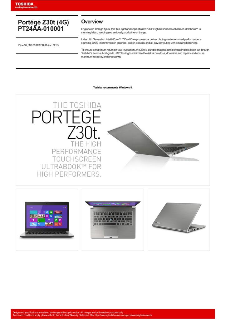 Toshiba Portégé Z30T (4G) | manualzz com